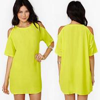 summer women dress lemon yellow strapless straight short-sleeve chiffon dress for womens