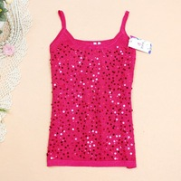 Summer spring autumn 2013 women's loose sequined cotton basic small vest tops WC0184