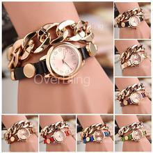Hot Sale New Women Girls Ladies Graceful Lovely Metal Punk Chain Bracelet Watch Artificial Leather Quartz Wholesale Wristwatches(China (Mainland))