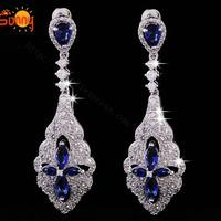 Earrings full rhinestone sparkling zircon earrings long design quality luxury jewelry bridal earrings cubic zircon