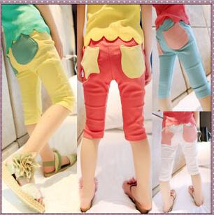 wholesale 2014 Baby Children's Summer Girls pants Fashion Casual New Brand Slim girl legging Free Shipping(China (Mainland))