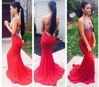 2014 Fashionable Backless Beaded Red Evening Dresses Free Shipping Sexy Mermaid Prom Dresses Custom
