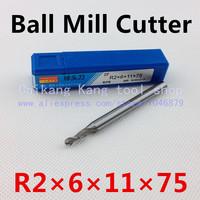 Head 4mm, ball mill, aluminum-hardened high speed steel cutter, R2 * 6 * 11 * 75mm