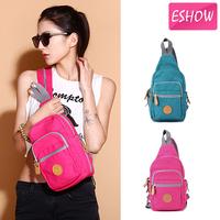 ESHOW Blue Pink Khaki Canvas Women Chest Bag Small Backpack Sport BFX0021