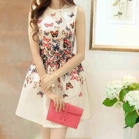 NEW 2014 Women Summer Fashion Brand High Quality Vintage Slim Butterflies Print Sleeveless Ball Gown Dress Free Shipping Y051284