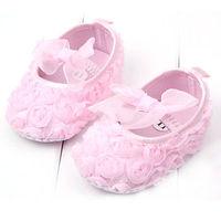 Pink Toddler Baby Girls Rose Flower Soft Sole Prewalker Cotton Princess Shoes