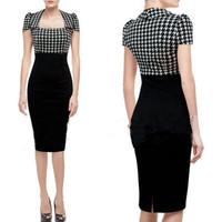 Fashion 2014 summer women office ladies dress slim pathcwork vintage female causal one-piece dress plus size bodycon dress
