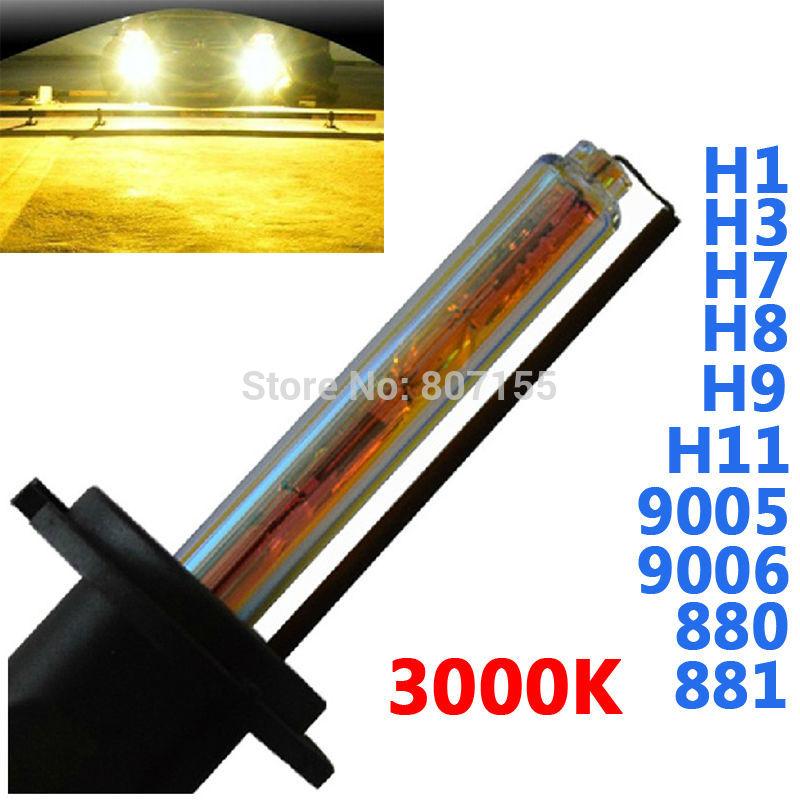 Free Shipping 1 Pair New Xenon HID bulb 3000K H1 H7 H8 H11 H3 9005 9006 881 12v 35w AUTO HID BULB 3000K HID bulbs for headlight(China (Mainland))