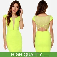 Plus Size XXL New Summer Dress 2014 Women Mini Casual Dress Bandage Party Dresses Mesh Short Sleeve Elastic Hollow Back Dress