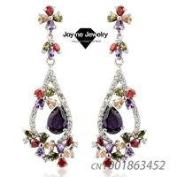Joyme Brand 2014 New Fashion AAA Quality Zirconia Dangle Earrings Fashion Wedding Jewelry for Female