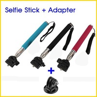 Portable Extendable Self Selfie Stick Handheld Monopod With Adapter For Gopro HD Hero 1 2 3 Camera Cellphones
