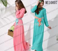 Free Shipping 2014 Hot Sales In Southeast Asia New Arrival abaya Muslim kaftan for women dress   Free Size MU1007
