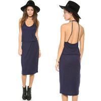 summer dress 2014 bamboo cotton overlock knitted elastic band girted curve  spaghetti strap women summer dress