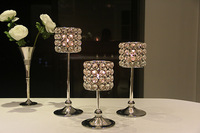Metal silver finish candle holder with crystals. wedding candelabra, centerpiece or home decoration,1 set=3 pcs candlestick