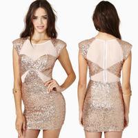 women summer dress sweet beige paillette patchwork elastic chiffon short-sleeve slim short women summer dress