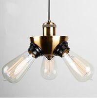 Vintage Copper Pendant Lamp Restaurant Pendant Lights Retro Edison bulbs Creative Hanging Lighting Fixture Free shipping V002