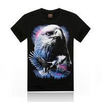 Free Shipping fashion top summer 3D eagle print men T-shirts,o-neck t shirts men tees men's t shirt cotton men's T shirts,KT81