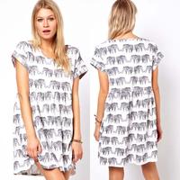 women dresses print  loose short-sleeve dress long design shirt dress