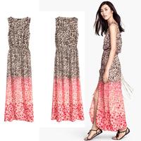 2014 Sale Rushed Party Dresses Vestido Vestidos Femininos Women Summer Dress Leopard Long Design Elastic Waist High Vent Cutout