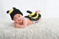 Free shipping newborn baby children girls child photography props Crochet Handmade wool modeling  sweater Bee 0-8M