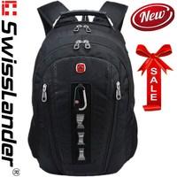 laptop backpack,brand SwissLander,swiss lander,15.6 inches notebook backpacks,school travel bagpack,w/ raincover,lock,knifecard