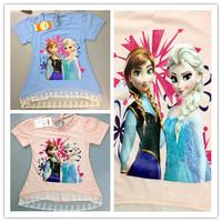 Hot Sale 2014 New Summer children clothing girl girls Frozen ANNA ELSA short sleeved t shirt top with lace Cartoon Tees