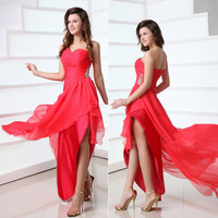 In Stock Sweetheart One-Shoulder Crystal Beaded Sexy High Low Prom Dresses Women Chiffon New Short Homecoming Dresses 2014
