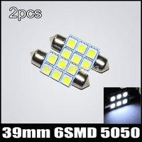 FREE SHIPPING 39mm 5050 6 LED License Plate Festoon Dome Interior Light 2pcs/lot Factory Wholesale