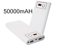 New 2014 1pcs 50000mAh LCD External Power Bank Dual USB With A USB Cable Battery Charger For iPhone PSP For HTC Free Shipping