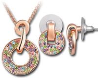 Made With Crystal Element Multicolored Round Shape Earrings & Necklace Set Engagement Wedding Bride Jewelry T000097