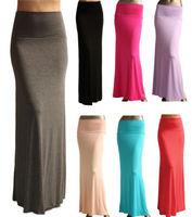 Hot Sale 2014 New Plus Size Black Fold Over Waist Banded Minimalist Jersey Knit Long Maxi Skirt saia longa