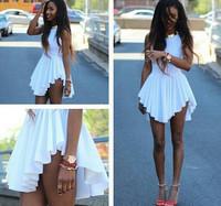 New 2014 Summer white Sexy Women Bandage mini Dress Sleeveless O-Neck Bodycon Club Dresses