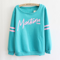 Wholesale 2014 Women's Hoody Personalized Letters New Korean Thick Fleece Sweatershirts Round Neck 5 Colors