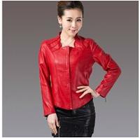 2014 Autumn Middle-aged Womens Short Slim Haining Sheepskin Blending Genuine leather jacket L-XXXXXL Special offer.