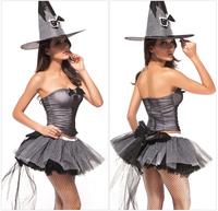 Eudora 2014 Femininos Fantasia Erotic Strapless Ball Gown Dress Cosplay Suit With Long Hat Grey Corset Halloween Costumes