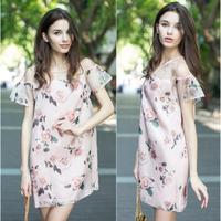 Summer Dress 2014 Vestido Vintage Printed Loose Straight Silk Dress Europe And America Luxurious Brand Fashion Dresses Pink 3566