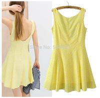 Hot Yellow Striped A-Line Mini Dress Deep V Back Sweet Girl Cute Style Ladies Summer Fashion Dresses New Tank Casual Dresses