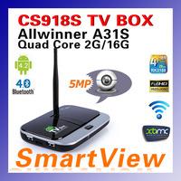 Original CS918S Android 4.2.2 TV BOX 5MP Camera Mic Allwinner A31S Quad Core 2G/16G XBMC Bluetooth HDMI Media Player TV Receiver