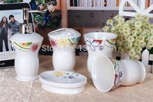 2014 noble fashion  5 piece European ceramic sanitary ware  of  wedding gift set Luxury suite bathroom toiletries mouthwash(China (Mainland))