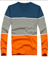 Men' s Sweater  2014 V neck 3 Color Cotton Mens Casual  Sweaters  L ong-sleeved T-shirt  Men Tops Fashion Pullovers ZX122