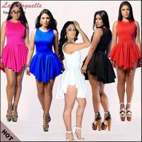 2014 Sexy Mini Sleeveless O-Neck Bodycon Club Dresses The New Summer White Bandage Dress Blue Black Rose Asymmetric Dress