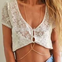 1 X Fashion Women Sexy Gold Body Chain Choker Necklace Belly Belt Chain Bikini Beach Harness Necklaces Jewelry Women Free Ship