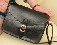 Free shipping PU leather retro messenger bag with button lock