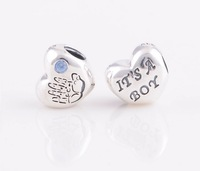925 Sterling Silver Baby Boy Heart Bead with Blue Cz Fits European Style Jewelry Charm Bracelets & Necklaces