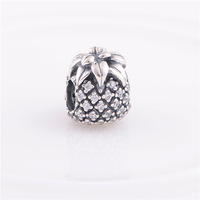 925 Sterling Silver Sparkling Pineapple Bead with Cz Fits European Style Jewelry Charm Bracelets & Necklaces