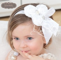 20pcs/lot Triple Satin Rosette Flowers Headbands with Ribbon Bow