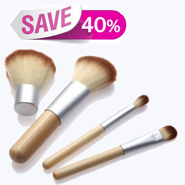 2014 HOT!! 4PCS Natural Bamboo Handle Makeup Brushes Set Cosmetics Tools Kit Powder Blush Brushes with Hemp linen bag(China (Mainland))