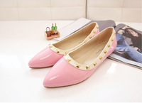 2014 New 7 Colors Fashion Womens Rivets Flats Shoes Spring/Summer/Autumn Flat Shoes Lady Pointed Toe Casual Shoes TX21