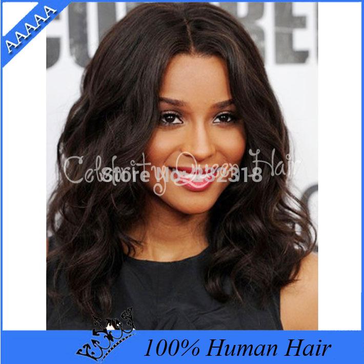 Ciara Inspirado Comprimento Médio Ondulado Bob Styled cheia do la?o do cabelo humano peruca / brasileiros Lace Front perucas para mulheres negras # 2 Dark Brown(China (Mainland))