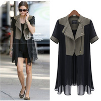 M-5XL!! New 2014 Spring Summer Women Fashion Plus Size XXXXXL European Style Loose Patchwork Chiffon Thin Trench Coats + Belt
